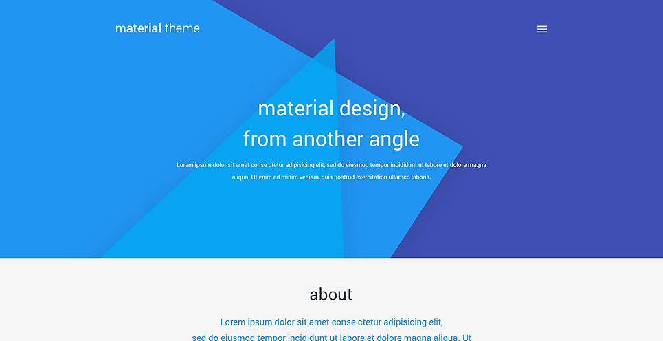 Material Style Web Design WordPress Theme