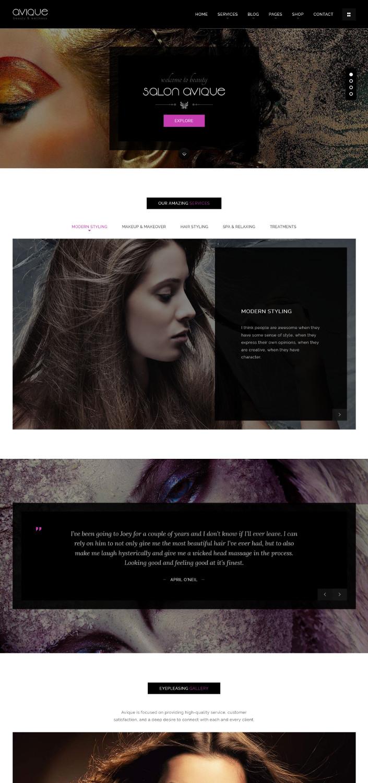 Avique - A Unique Beauty Salon WordPress Theme