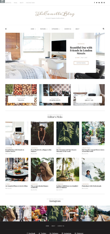 Camille - Romantic WordPress Blog Theme