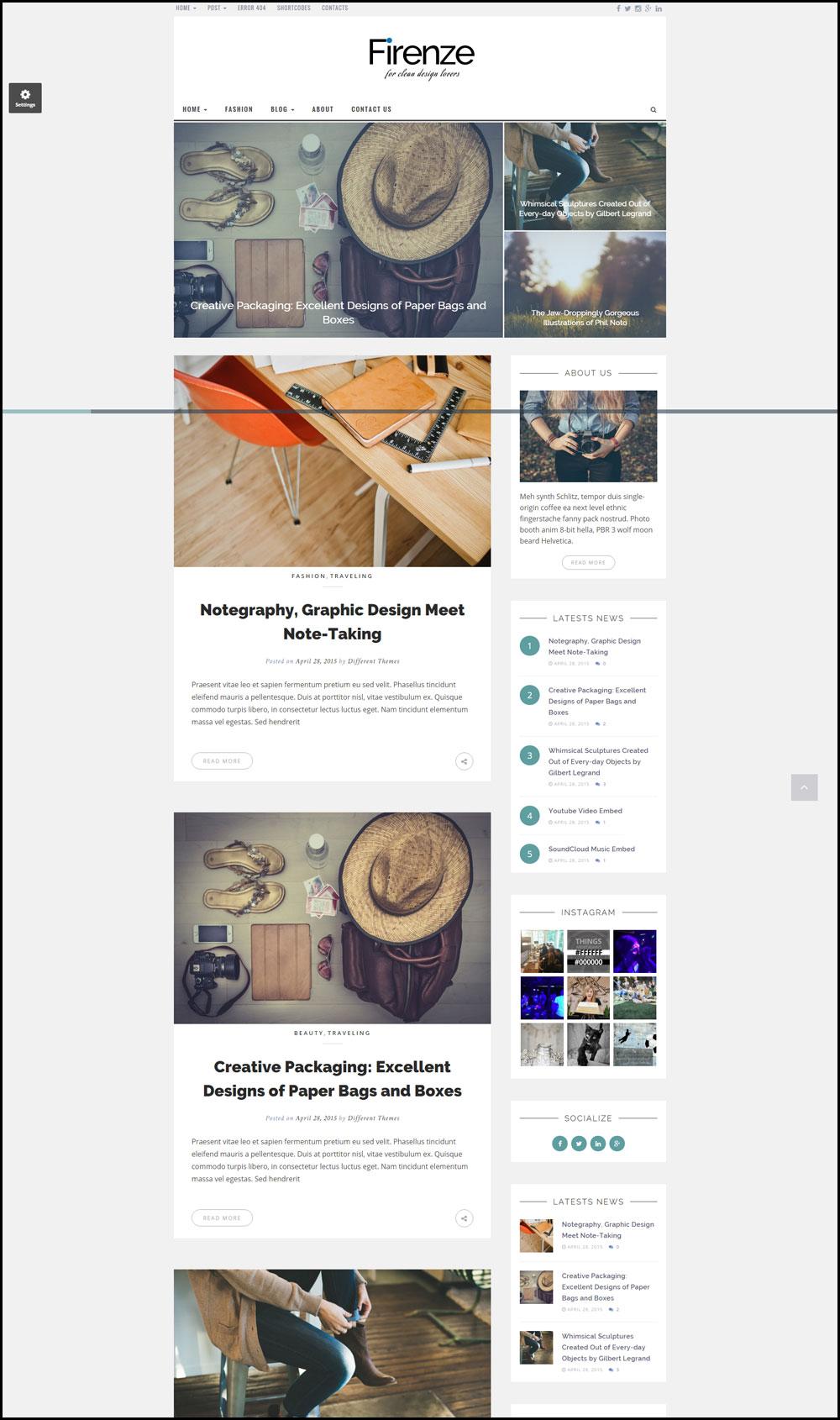 Firenze – A Clean Design WordPress Blog Theme