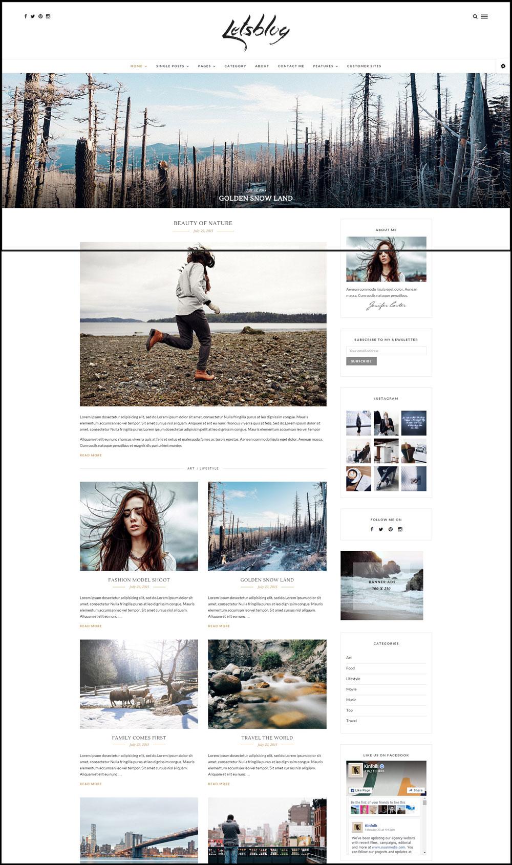 Lets Blog – Responsive Blog WordPress Theme