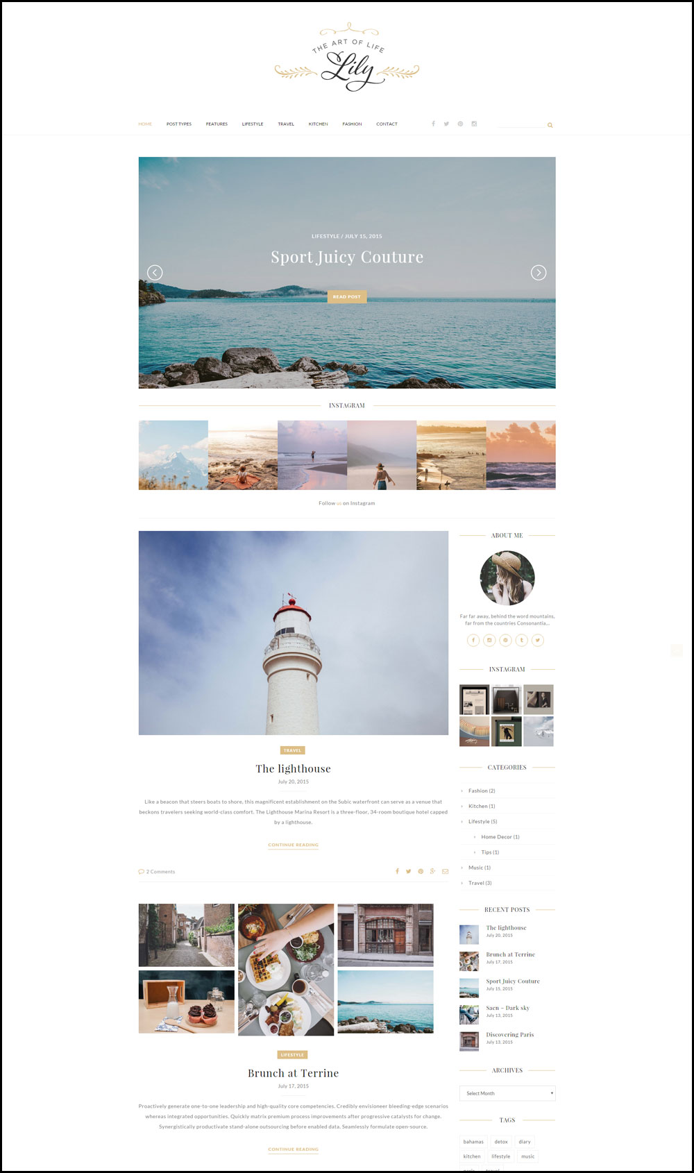 Lily – A Elegant & Beautiful WordPress Travel Blog Theme