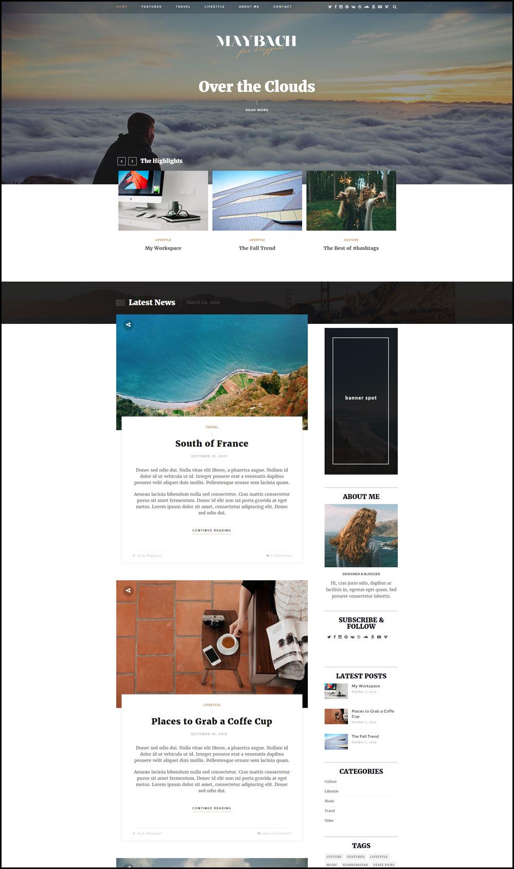 Maybach – A Responsive WordPress Blog Theme