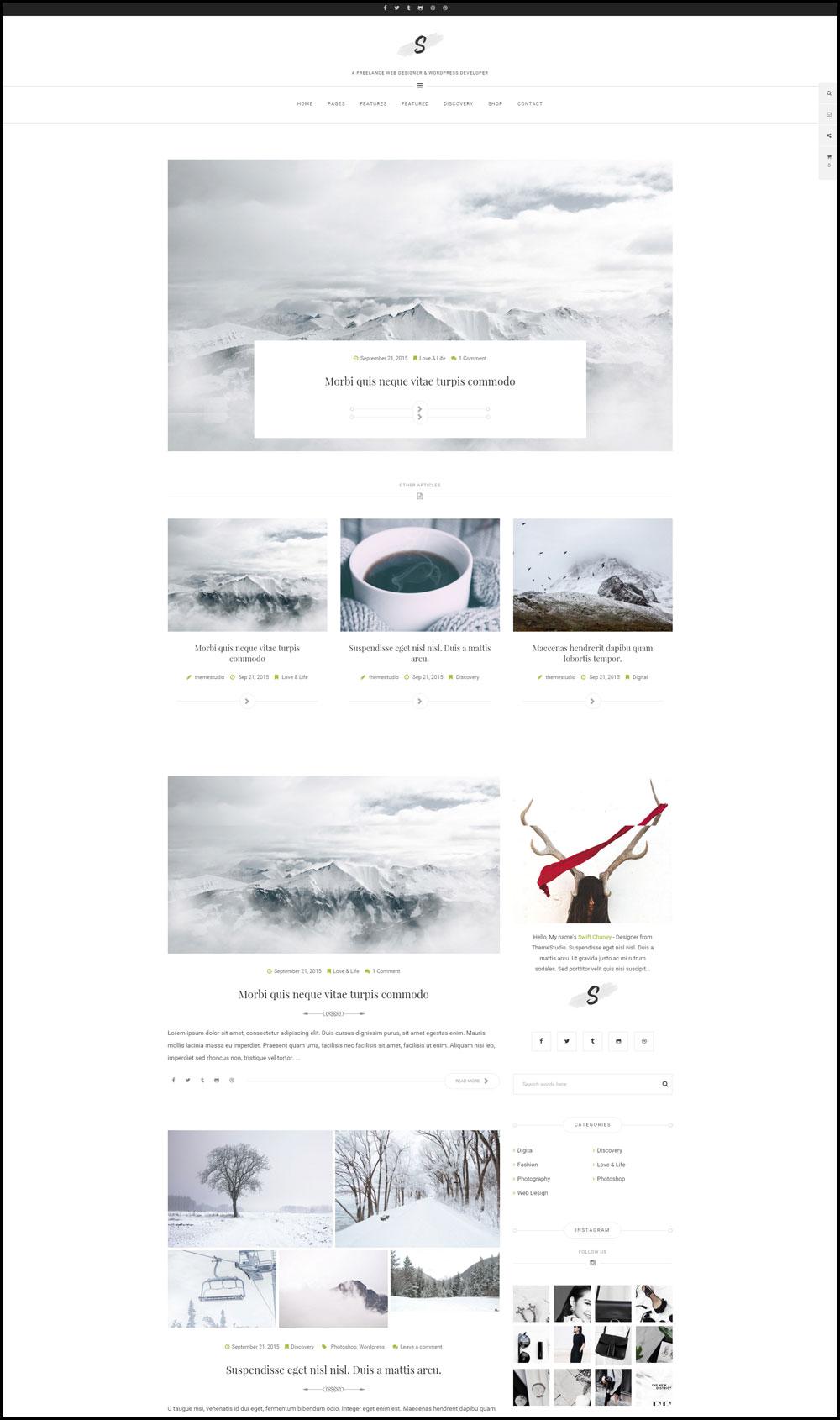 Swift – A Simple & Elegant WordPress Travel Theme