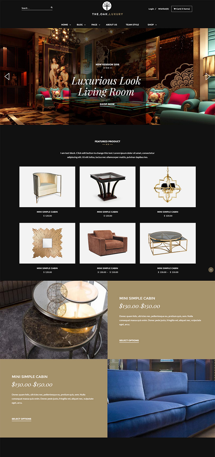 Luxury And Gorgeous Dark Design WordPress Theme For Home Decor Furniture Interior TheOak Is One Of The Best Premium Responsive