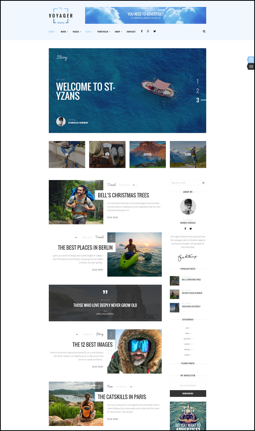 Voyager – A Creative & Light Travel Blog Theme