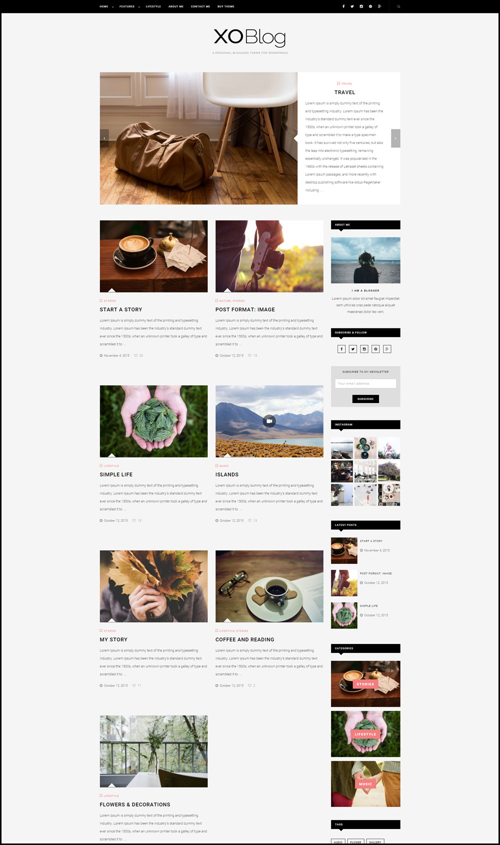 XO – Simple & Creative WordPress Theme For Travel Bloggers