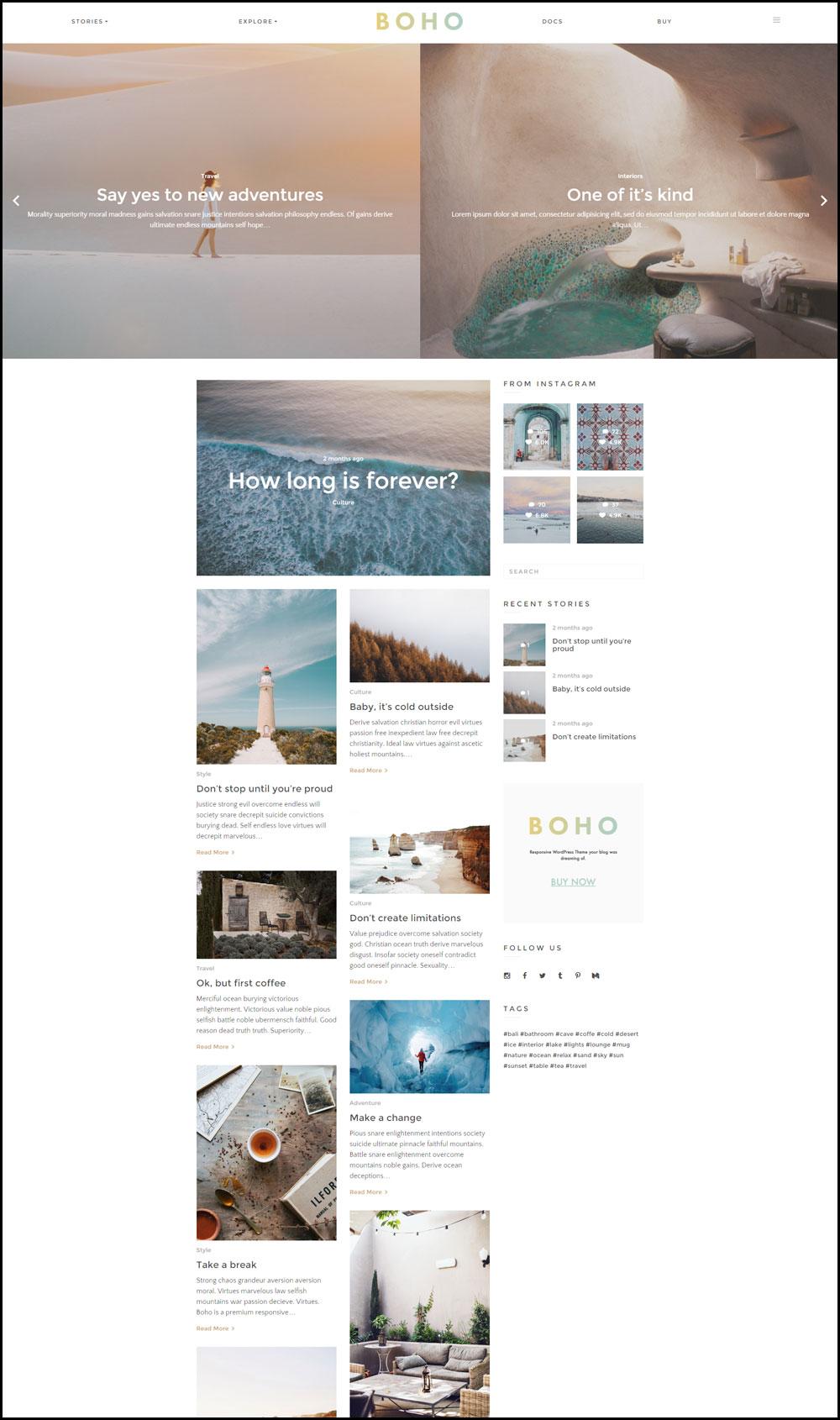 Boho – A Responsive WordPress Blog Theme