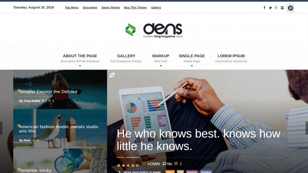 Dens - Technology & Gear WordPress blog Theme
