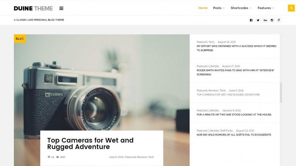Duine - A Responsive WordPress Blog Theme