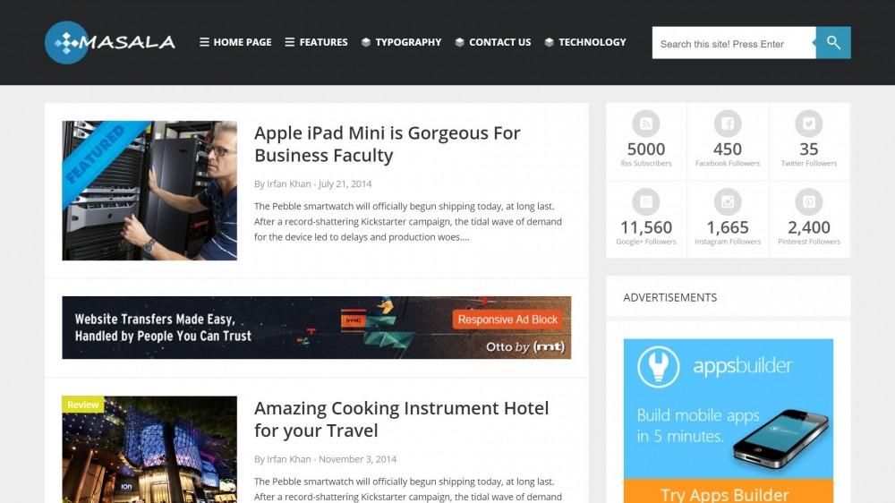 Masala - A Responsive WordPress Blog Theme For Tech Bloggers