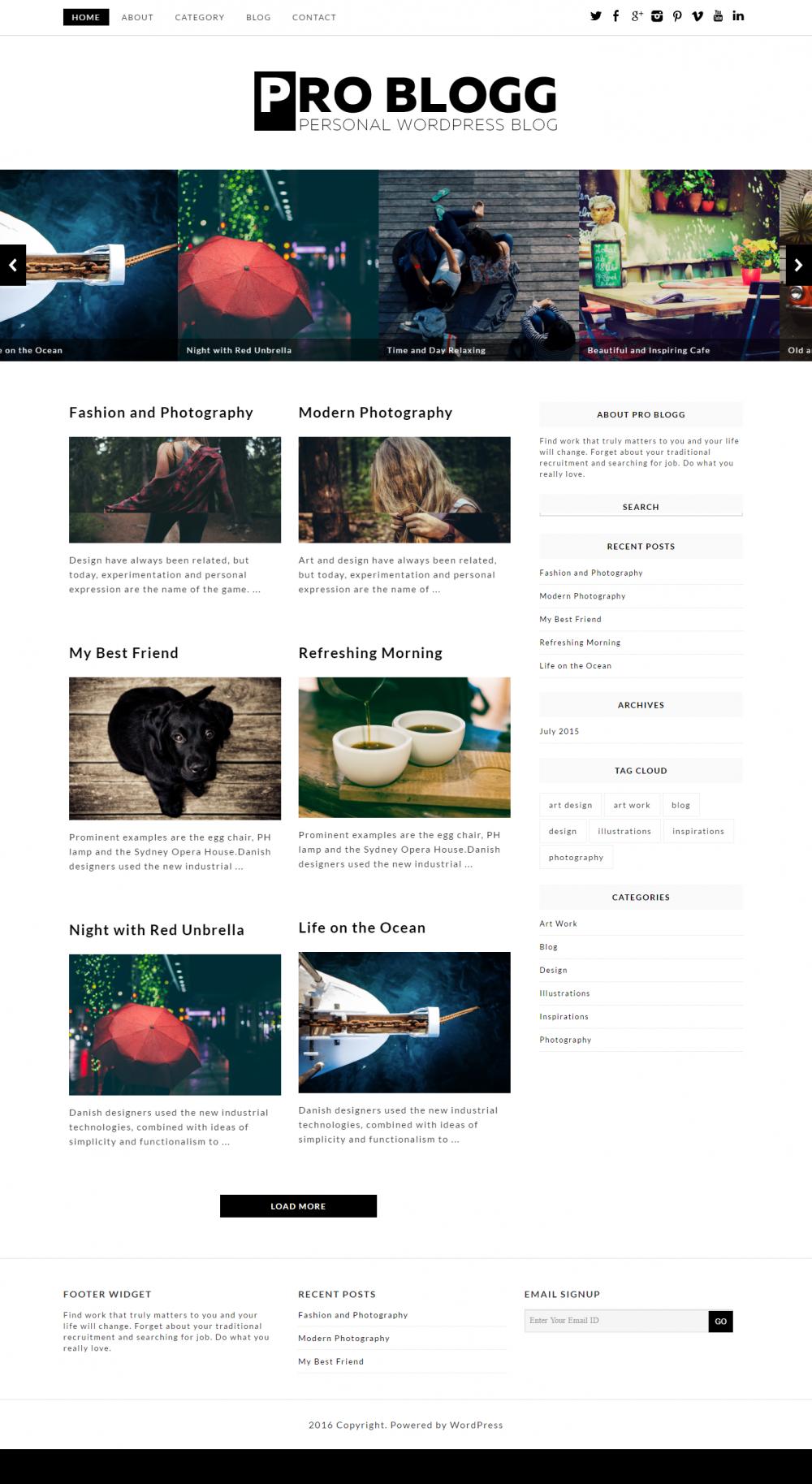 Pro Blogg - Blogging WordPress Theme