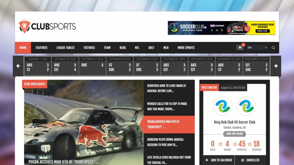 Club Sports - Events and Sports Magazine Theme