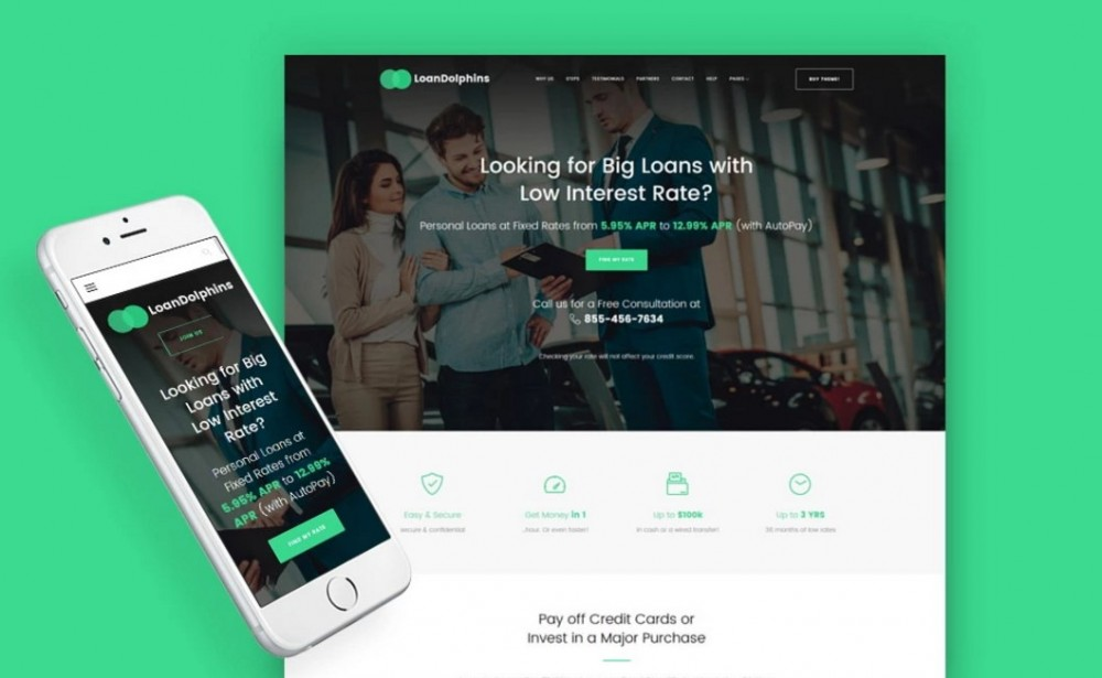 Loan Dolphins – Bright Loan Company One Page WordPress Theme