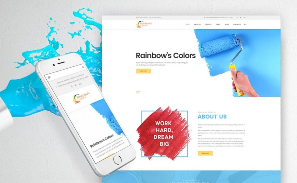 Rainbow's Colors – Creative and Responsive Painting Company WordPress Theme