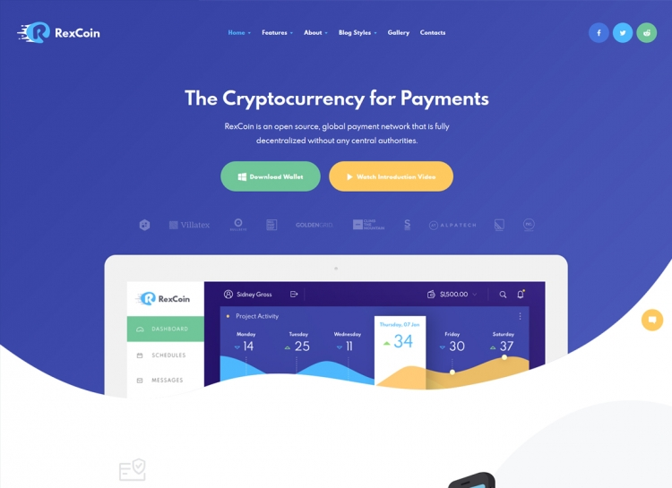 RexCoin | A Multi-Purpose Cryptocurrency & Coin ICO WordPress Theme